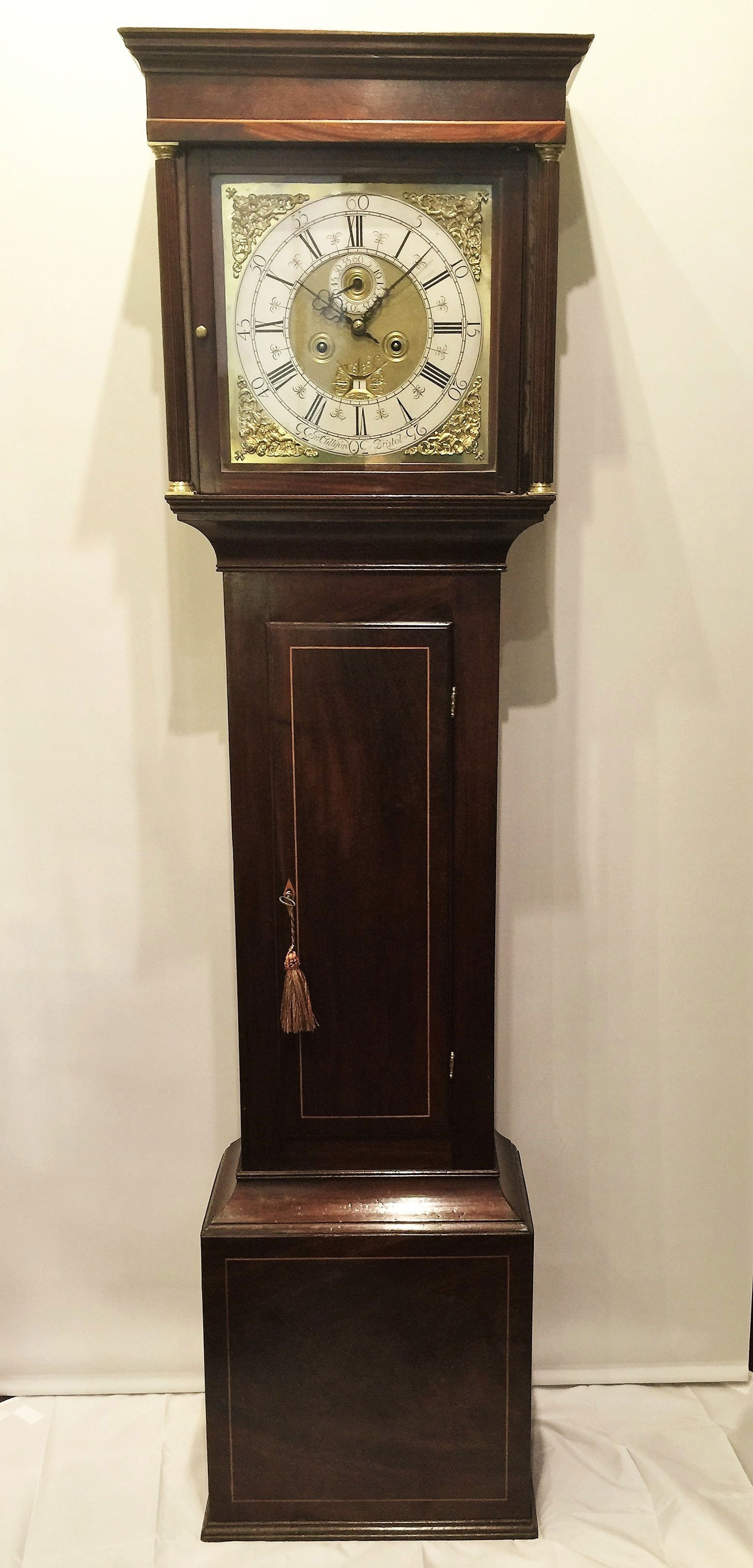 8 day brass dial longcase clock
