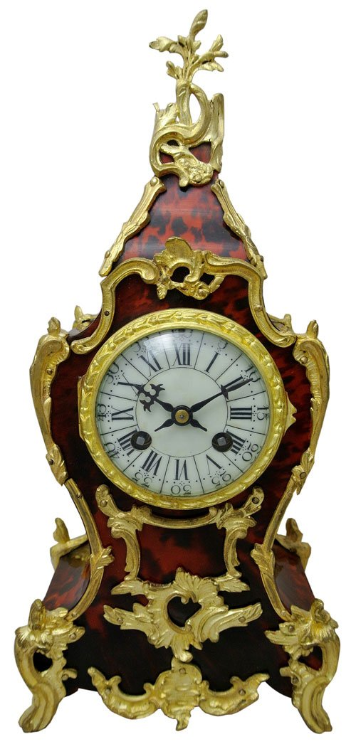 French tortoiseshell and ormolu mantel clock