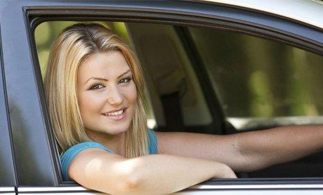 premier automotive girl in car