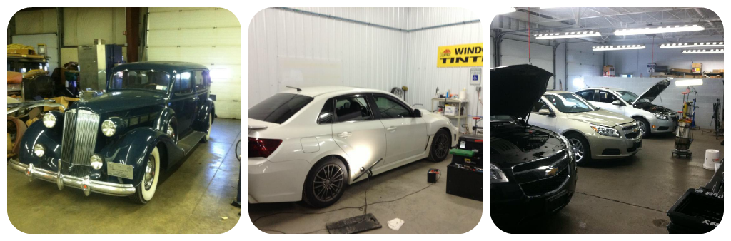 Various cars in our shop for dent repair work