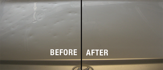 Before and after image of dents on a car