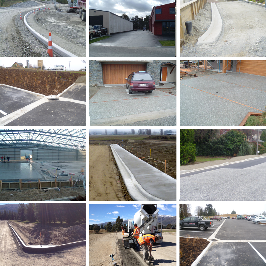 Range of concrete kerbing examples in Central Otago