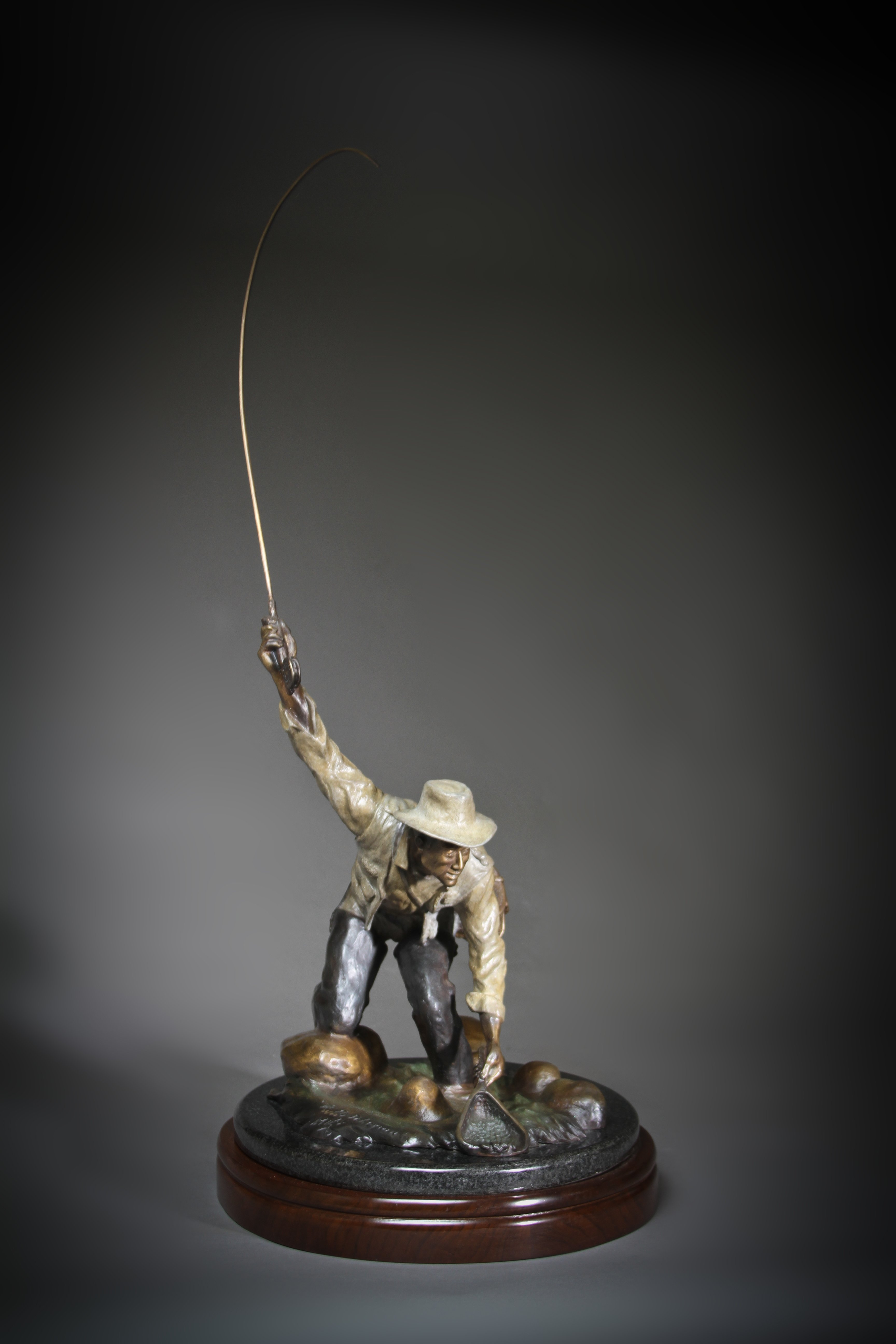 """The Fly Fisherman"" Height:29"" Base:12x14 inches"