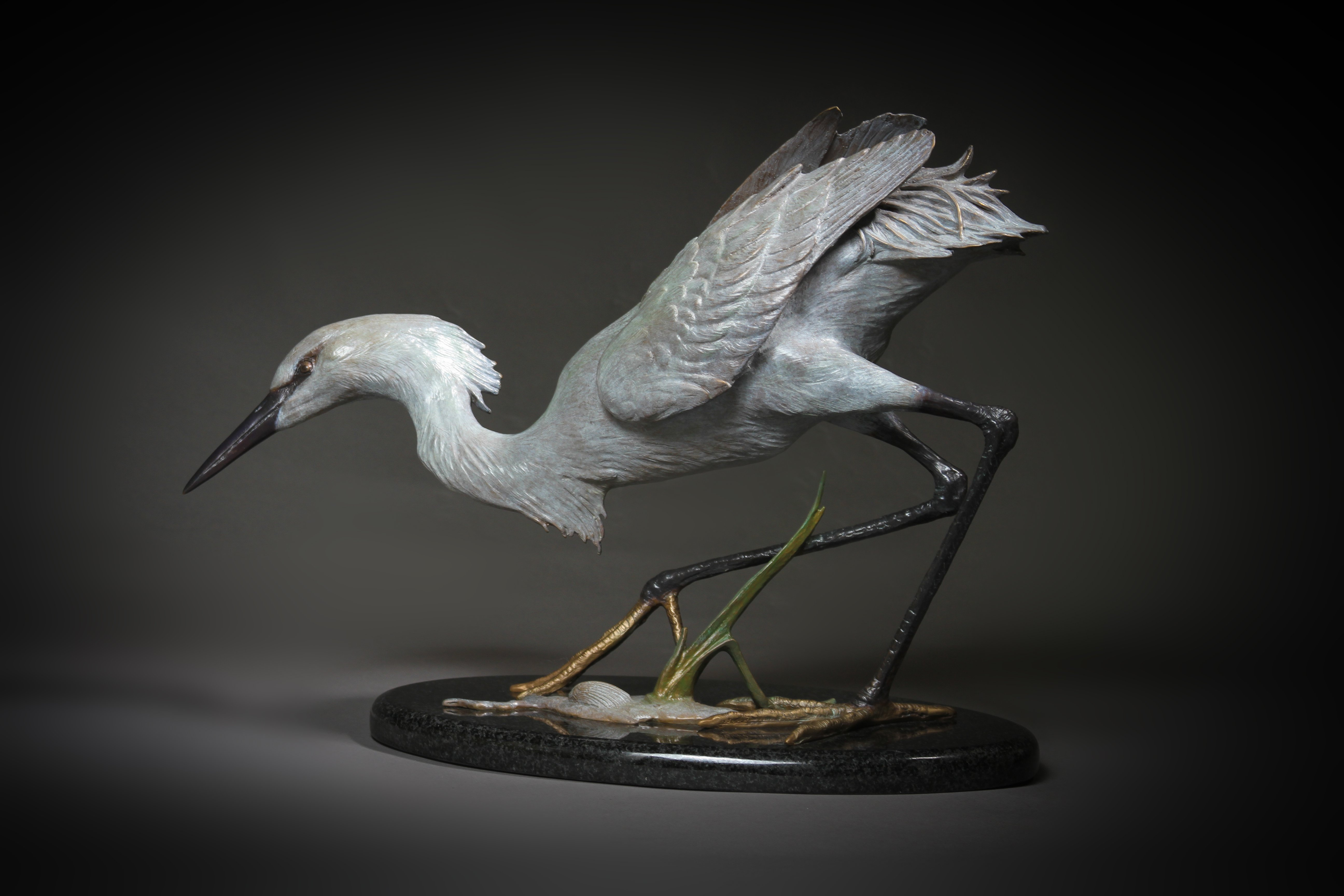 """Snowy Egret"" Height: 13  1/2""   Base: 13  1/2 x 8"""