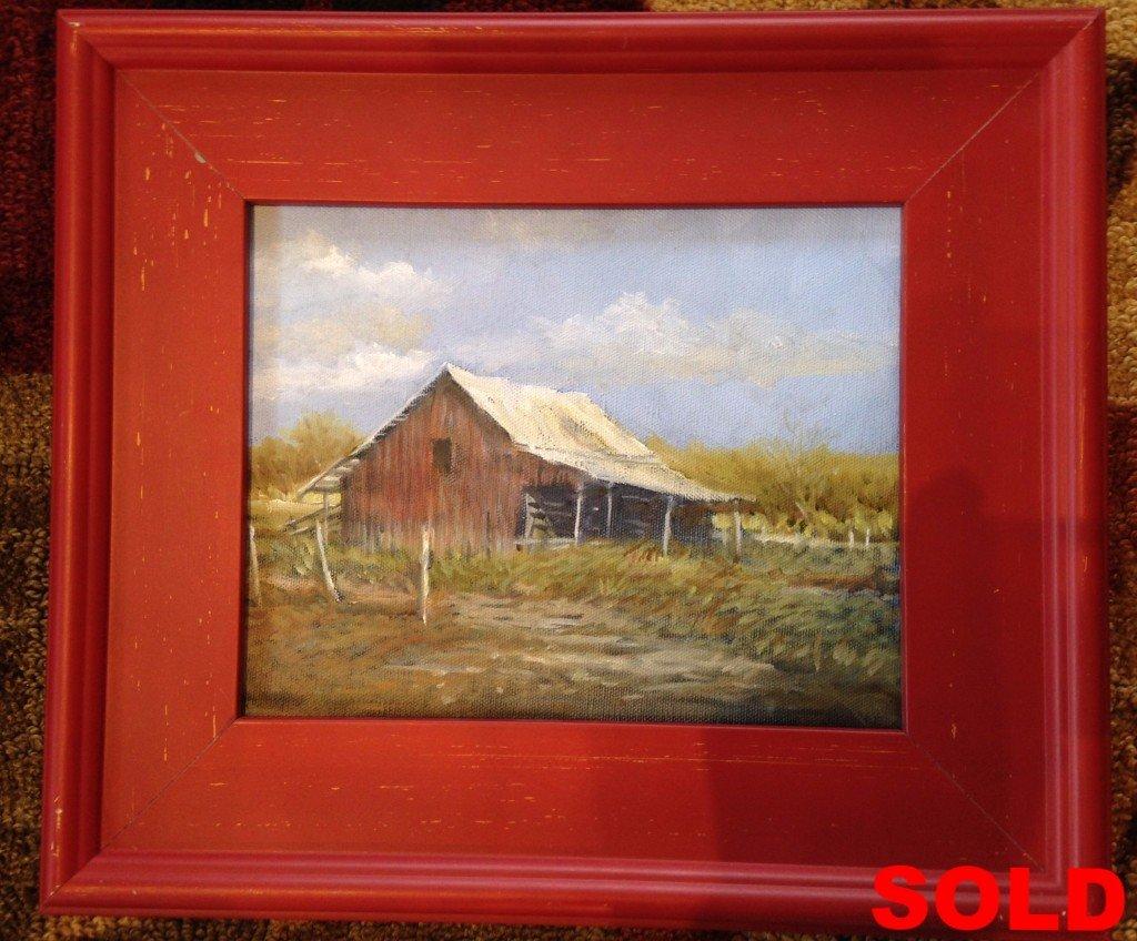 """""""Red Barn""""  Unframed 8 x 10  Framed 14 x 15"""