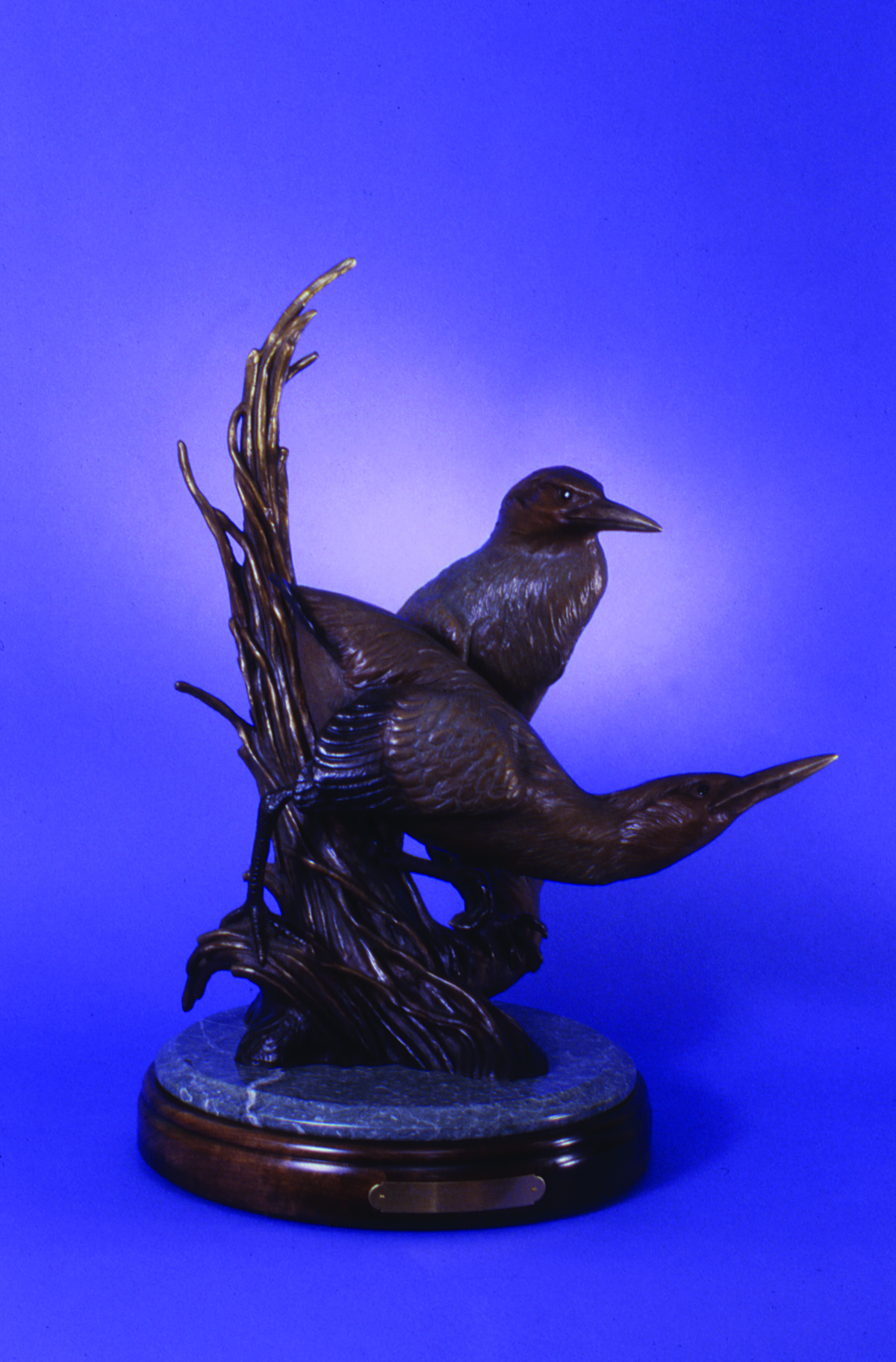 """Green Herons Repose"" Height: 23"" Base 13 1/2"""