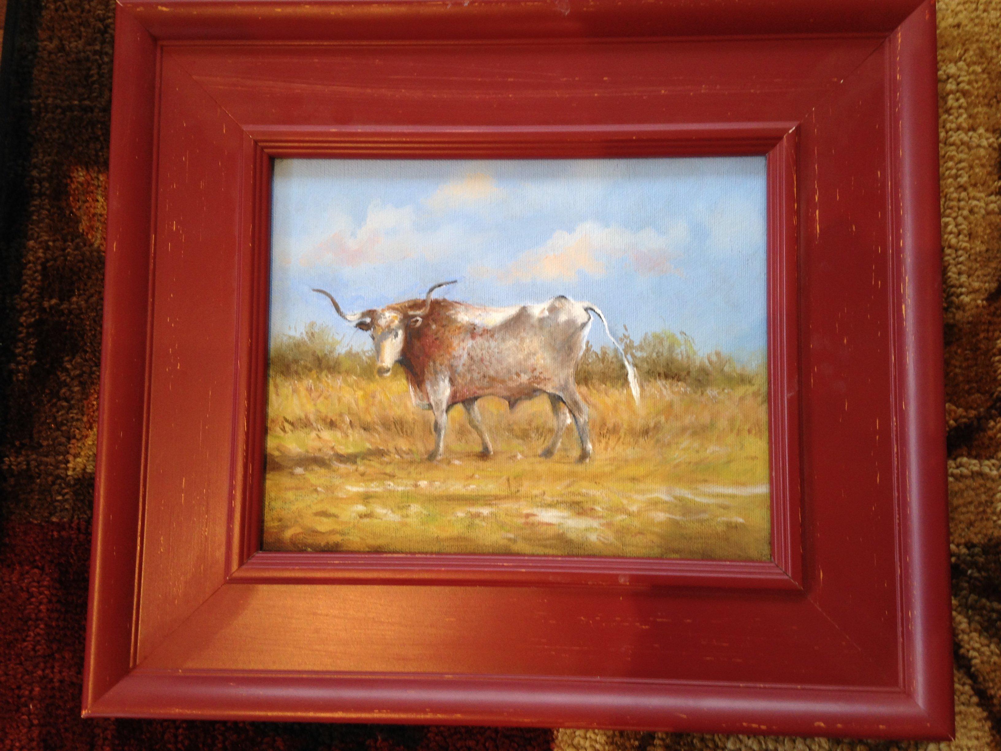 """""""Longhorn Steer"""" unframed 8 x 10  Framed 14 x 15"""