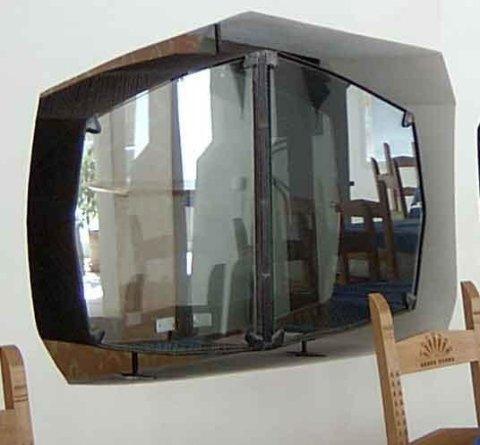 vetrina in ferro e vetro sagomato foto