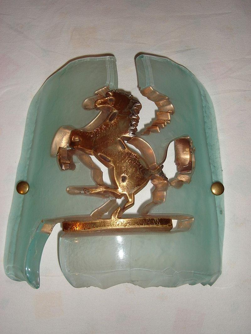 cavallino ferrari vetro fusione oro