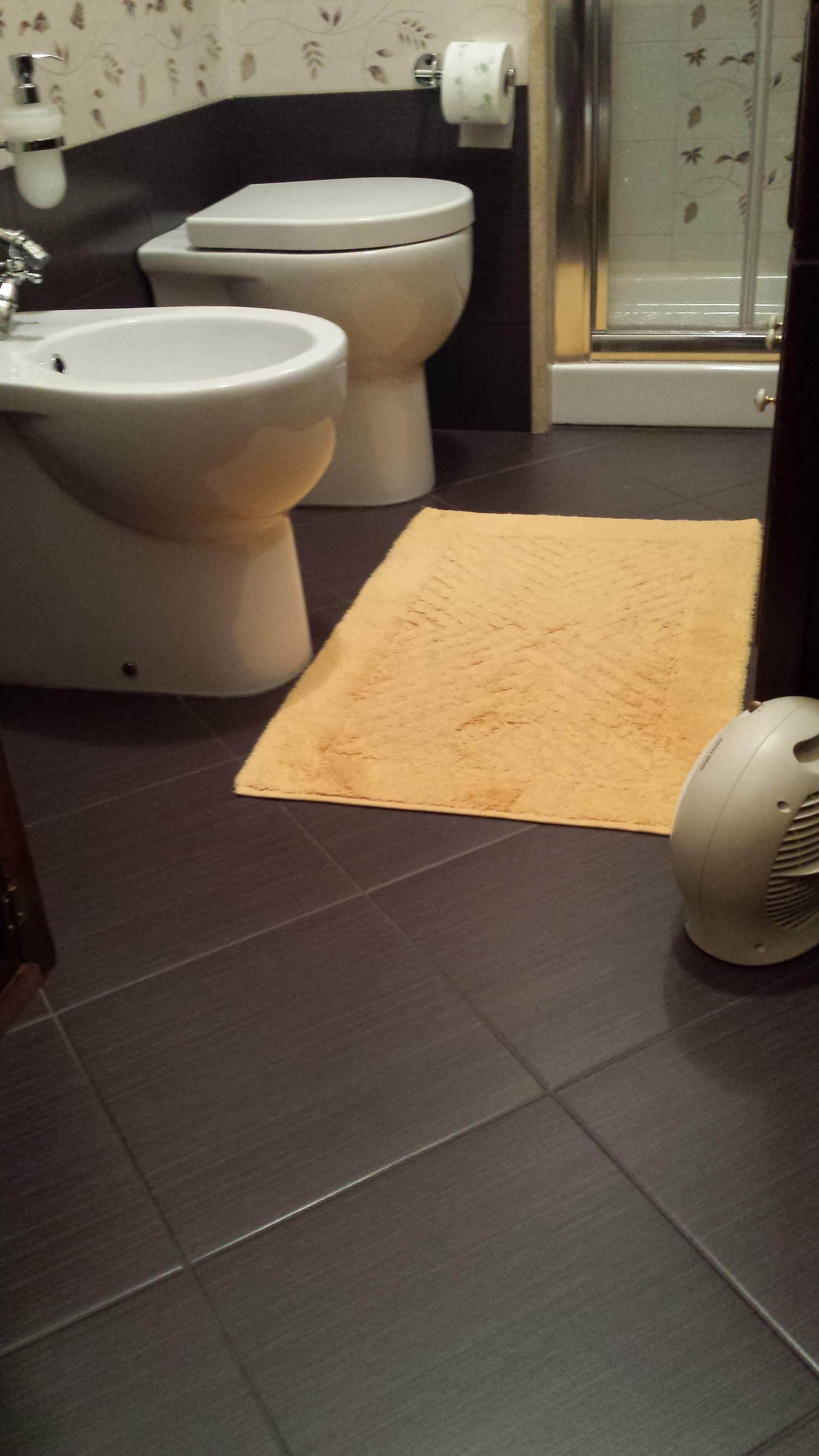 bagno con sanitari bianchi, pavimento scuro e tappeto giallo