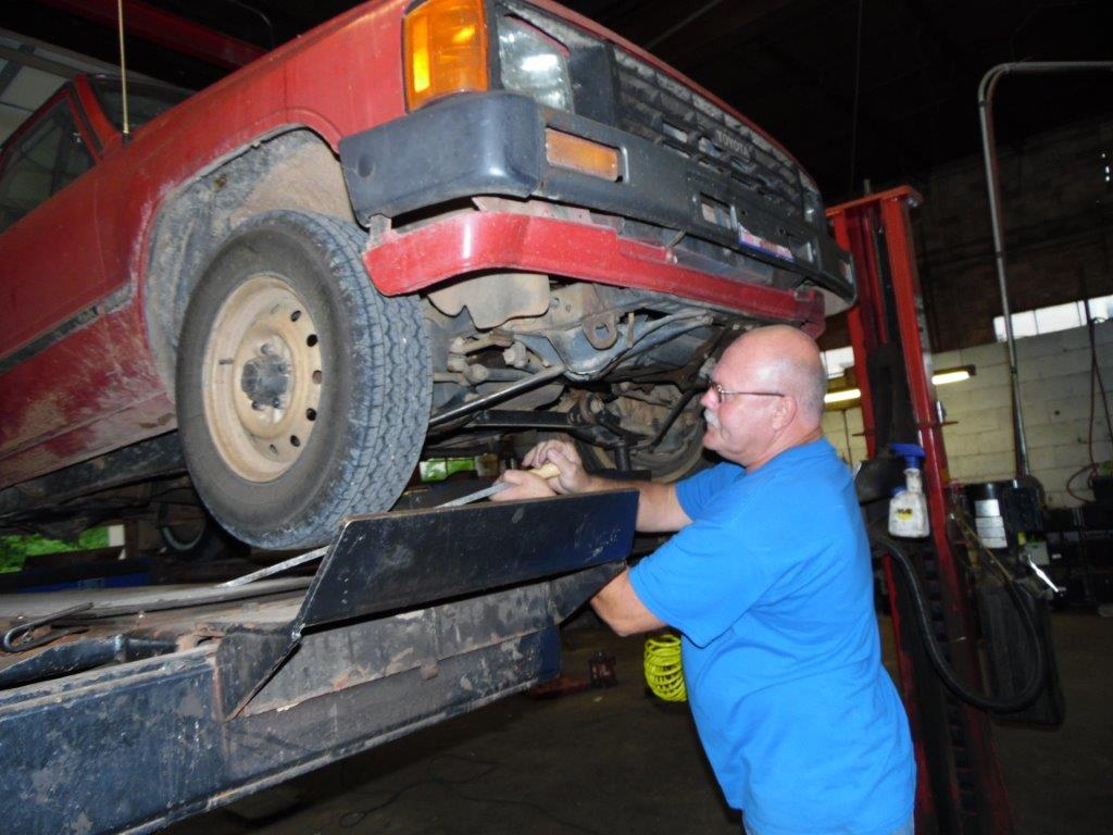 Man working on a truck