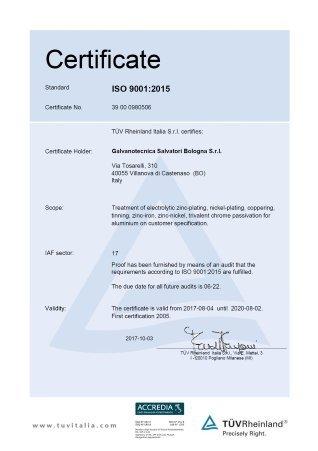 Certificate TUV 2017