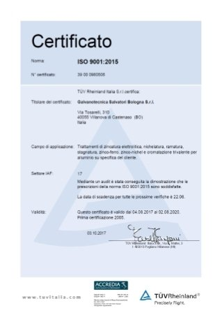 Certificato TUV 2017