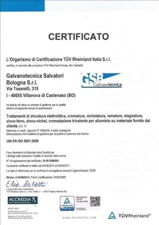 Certificato TUV 2014