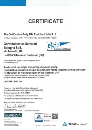 Certificate TUV 2014