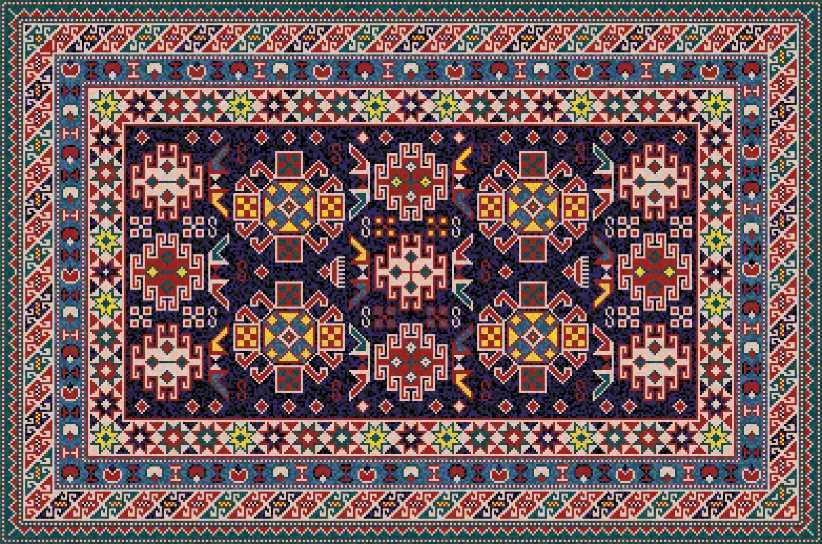 Tappeto multicolori con motivi geometrici. Sottolinea i blu e bianco