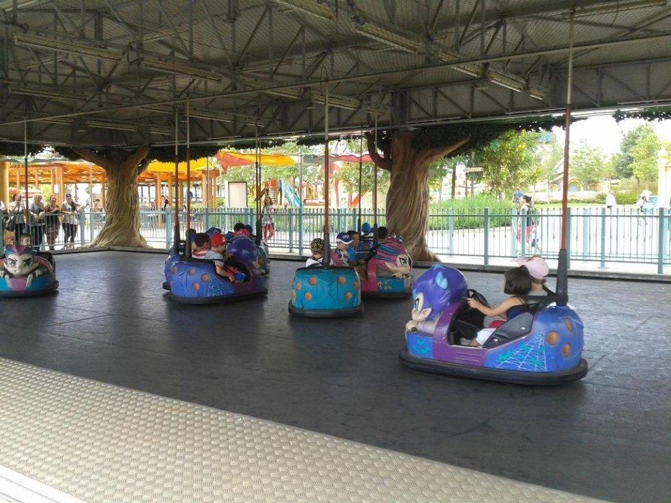 dei bambini su delle macchinine in un parco divertimenti