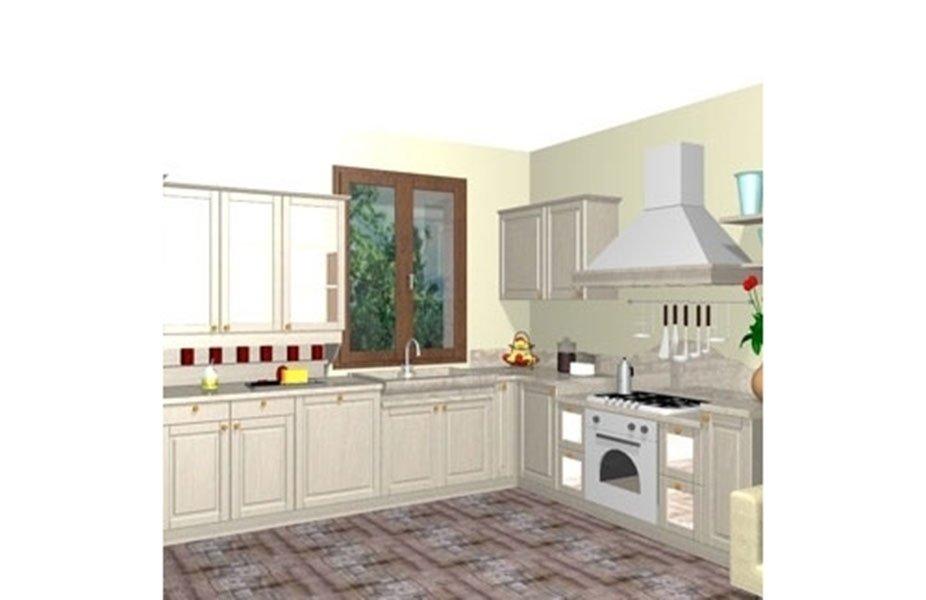 progetto cucina con mobili pensili