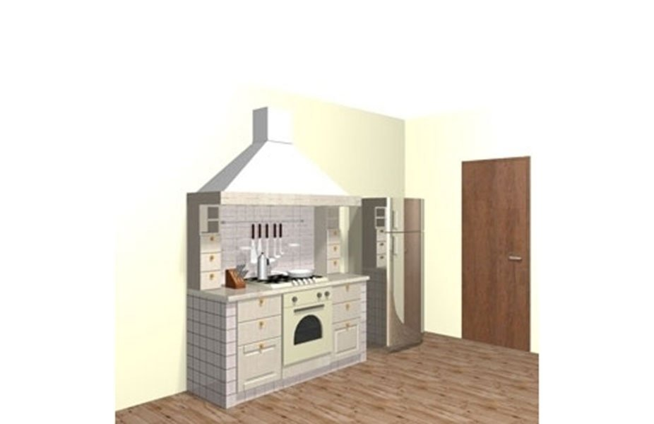 rendering piano cucina con cappa
