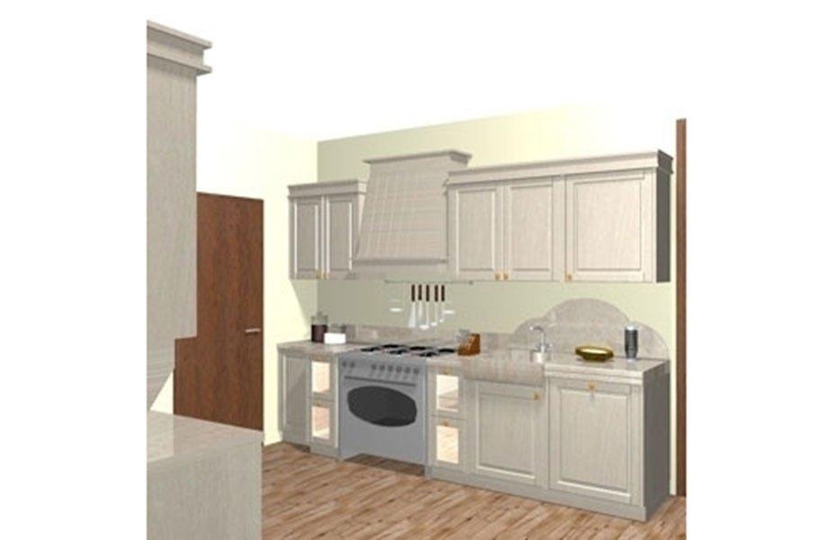 rendering cucina con elettrodomestici incassati