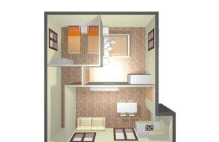 progetto 3D degli interni di una casa