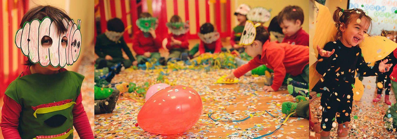 bambini con maschere giocano con i coriandoli