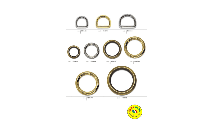 anelli metallici a moschettone