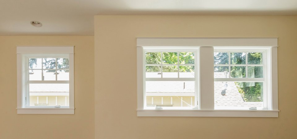 white framed windows