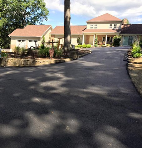 View of a long driveway built by experts in west Virginia