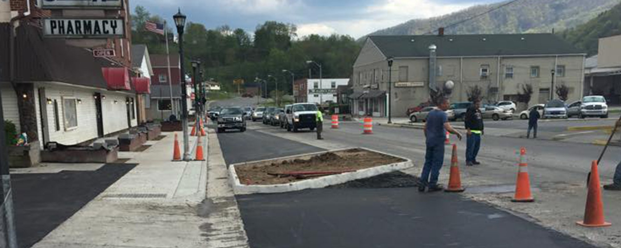 Work in progress for paving of road in Virginia