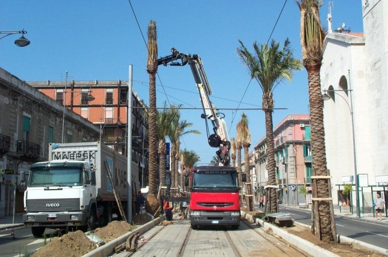 Work on the Tramway of Messina