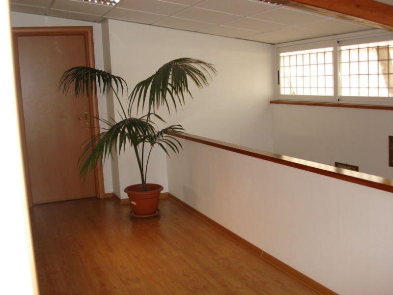 un corridoio con pavimento in parquet e un vaso di fiori