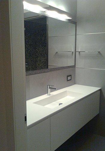 un lavabo rettangolare con sotto un mobile di color bianco  e uno specchio al muro