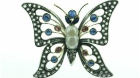 spille con brillanti a forma di farfalla, coralli, oreficeria