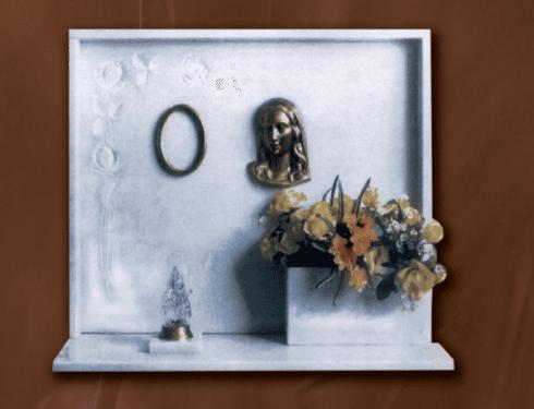 Lapide in marmo bianco sivec con accessori