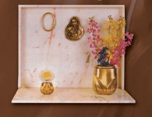 Lapidi in marmo rosè del Portogallo con accessori in bronzo
