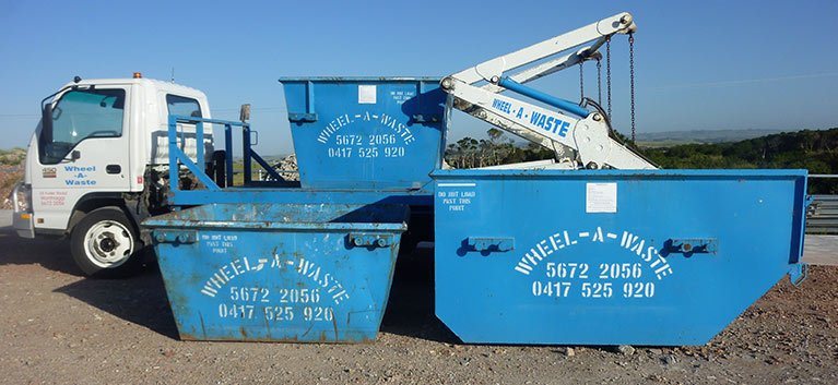 wheel a waste skip bins with the truck