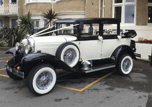 White and black vintage car