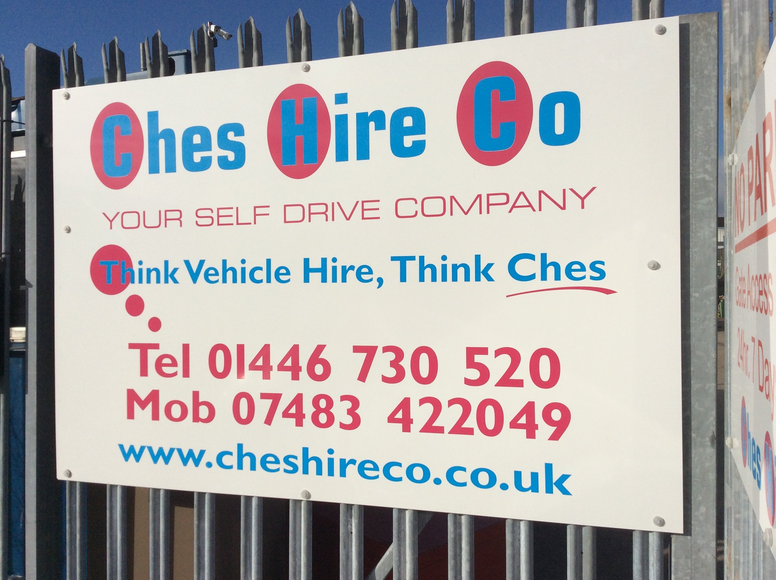 Ches Hire Co hoarding