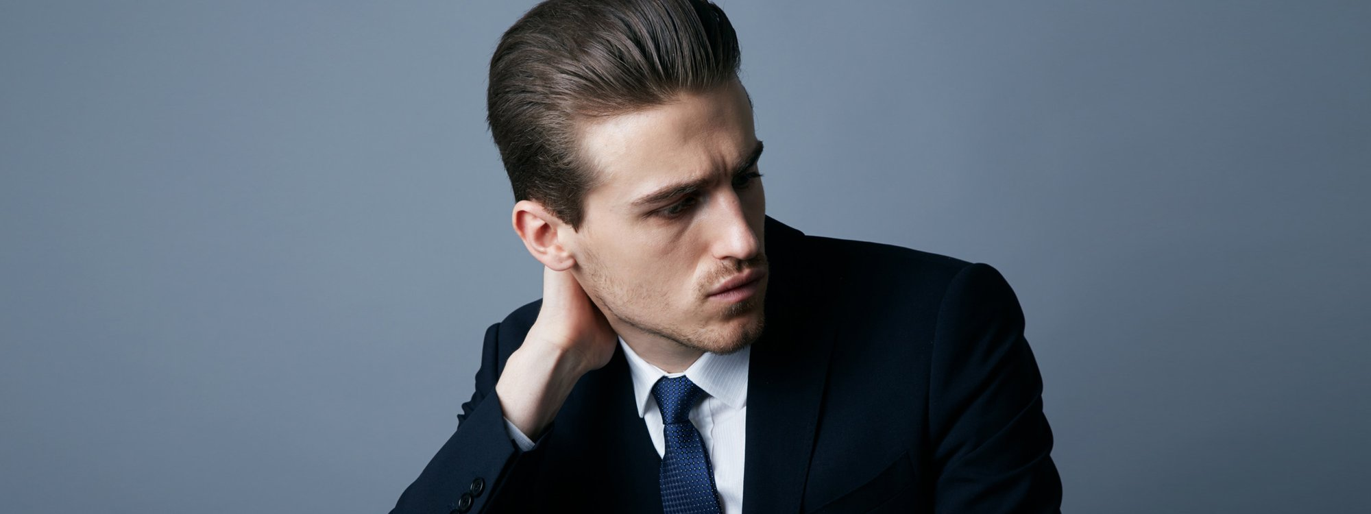 man with gelled hair