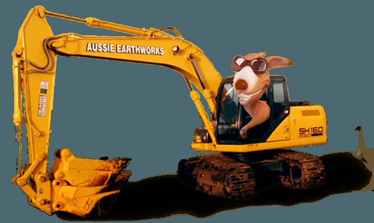 kangaroo driving an excavator