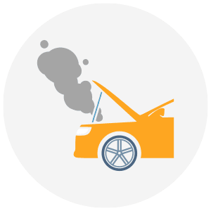 Icon of a broken down car