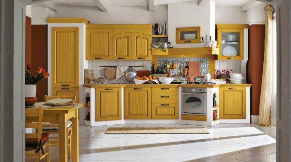 Cucina stile classico gialla