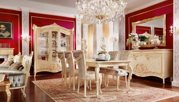 soggiorno classico con tavolo e sedie e mobili abbinati