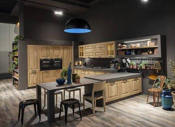 cucina in stile contemporaneo in legno chiaro