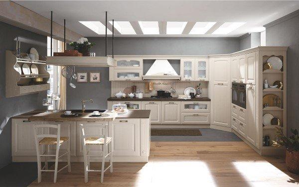 cucina bianca con isola e sgabelli alti