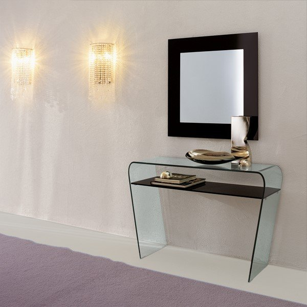 tavolino in vetro con specchio