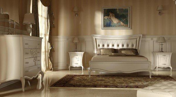 Camera da letto con comodino bianco in stile contemporaneo