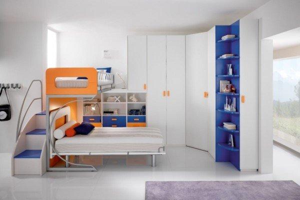 cameretta moderna blu e arancione