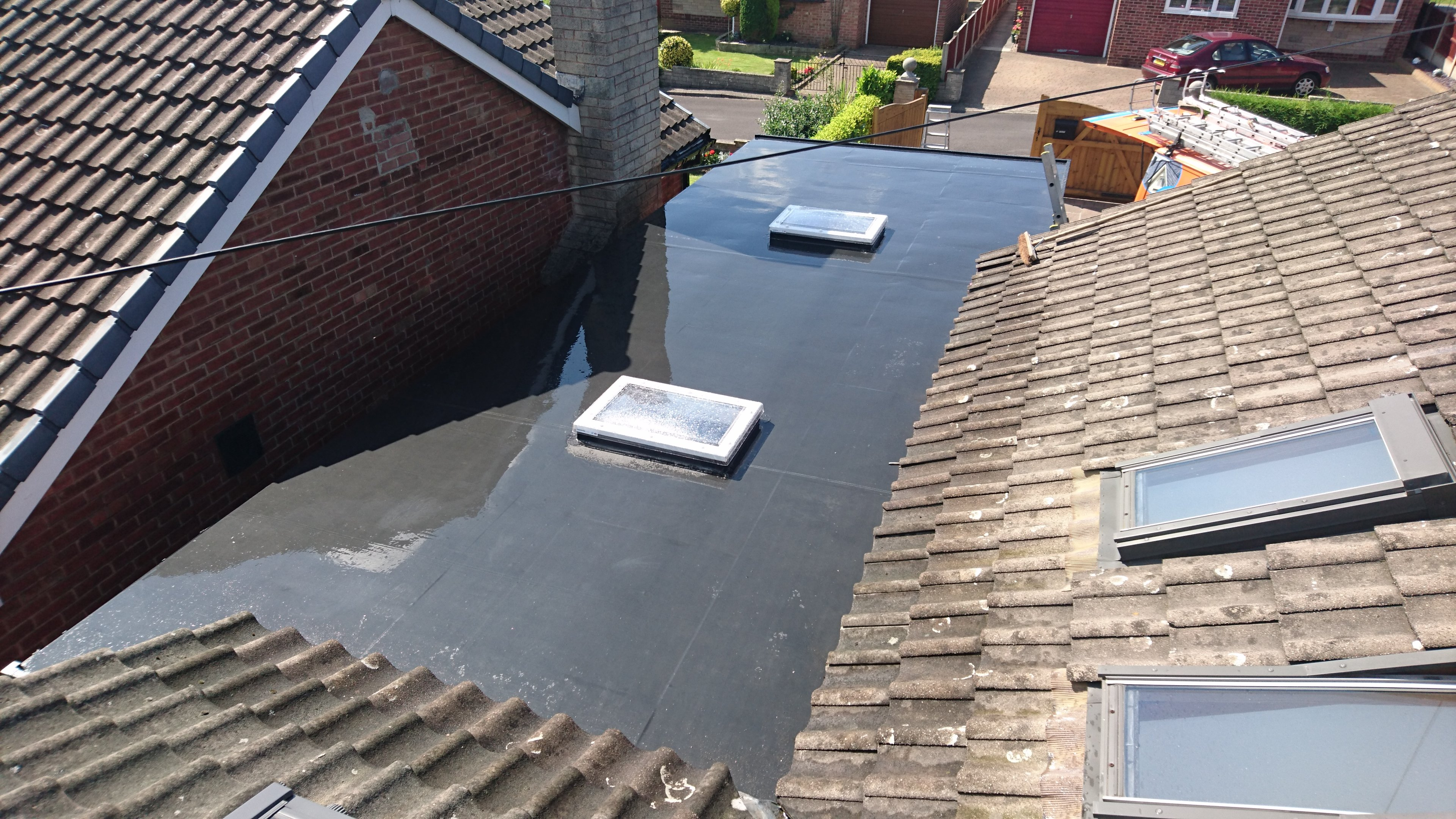 rile roof and flat roof